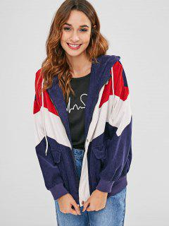 ZAFUL Color Block Kapuzen Cordjacke - Multi S