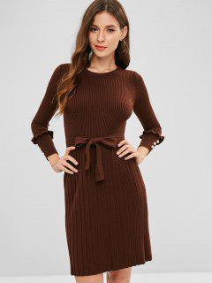 Ribbed Beaded Sweater Dress - Coffee
