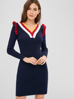 Striped Ribbed Frilled Sweater Dress - Midnight Blue