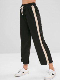Side Stripe Wide Leg Pants - Black
