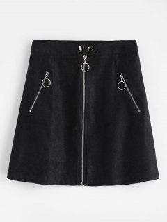 Zip Up A Line Skirt - Black S