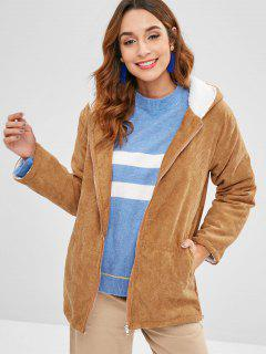 Hooded Fleece Lining Corduroy Coat - Light Brown Xl