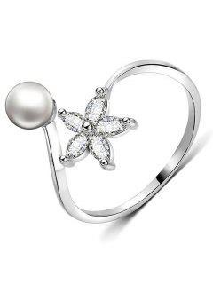 Artificial Pearl Rhinestone Flower Cuff Finger Ring - Silver