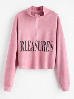 Half-zip Graphic Suede Sweatshirt - Pink M