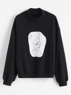 Face Graphic Mock Neck Sweatshirt - Black Xl