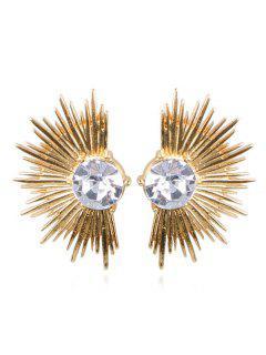 Pendientes De Aleación De Abanico De Diamantes De Imitación Punk - Oro