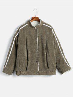 Buttoned Side Striped Sheepskin Coat - Army Green M