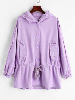 Ripped Drawstring Hooded Denim Jacket - Mauve L