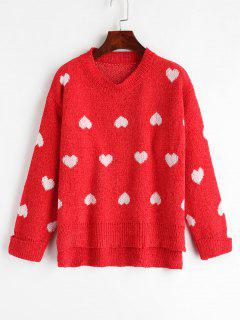 Cuffed Heart Graphic Sweater - Red