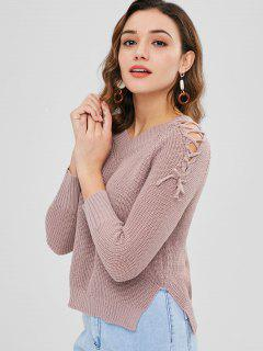 V-Ausschnitt High Low Lace Up Pullover - Glyzinie Lila