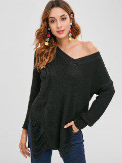 Seitenschlitz Distressed Sweater - Schwarz
