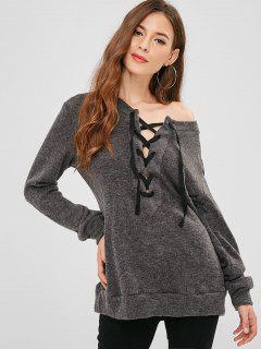 Lace Up Plain Longline Pullover - Dunkelgrau Xl