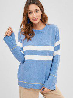 Loose Flare Sleeve Stripes Sweater - Blue Koi