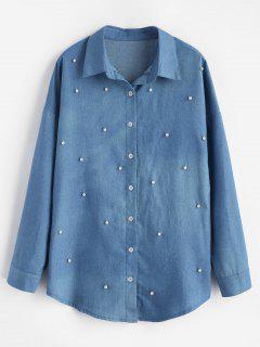 Camisa De Cambray De Perlas De Imitación Perla - Azul De Seda M