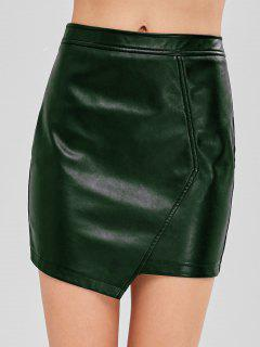 ZAFUL Faux Leather Asymmetric Skirt - Dark Green M