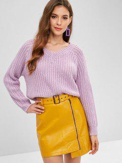 ZAFUL V Neck Chunky Sweater - Wisteria Purple