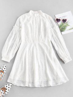 ZAFUL Lantern Sleeve A Line Dress - White M