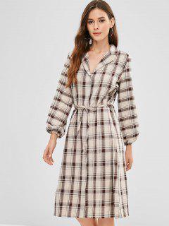 Lapel Plaid Long Sleeve Dress - Multi M