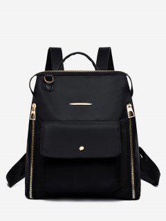 Nylon Zip Pockets School Backpack - Black
