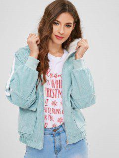 Raglan Sleeve Fleece Lining Hooded Jacket - Coral Blue