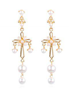 Alloy Cross Faux Pearl Party Drop Earrings - Gold