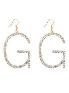 Sparkly Rhinestone Letter G Hook Earrings - Gold