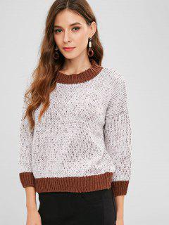 Contrast Trim Drop Shoulder Jumper Sweater - Crystal Cream