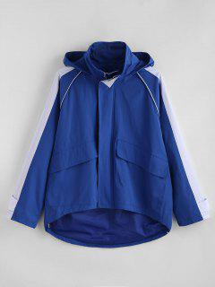 Color Block Pockets Windbreaker Jacket - Blue L