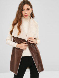 Turndown Collar Fluffy Tunic Waistcoat - Deep Brown