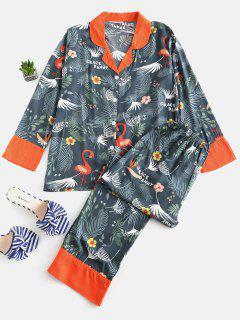 Flamingo Flower Shirt And Pants Pajama Set - Peacock Blue L
