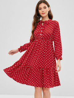 Bow Collar Polka Dot Dress - Red M