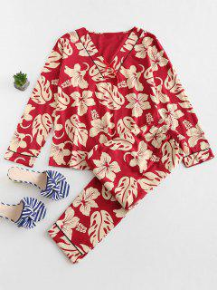 Leaf Flower V Neck Pajama Set - Cherry Red Xl