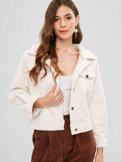 Fluffy Button Up Coat - Crystal Cream