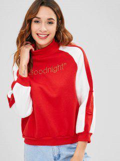 Letter Embroidered Raglan Sleeve Sweatshirt - Red