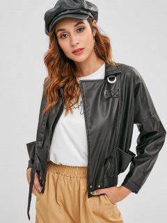 Snap Button PU Leather Jacket - Black L