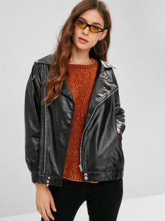 Zip Up Biker Faux Leather Jacket - Black