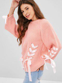 Suéter Con Cordones De Manga Raglán De Cinta - Rosa
