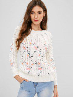 Embroidered Raglan Sleeve Sweater - White