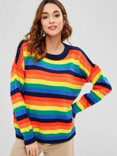 Suéter Túnica Rayas Arco Iris - Multicolor