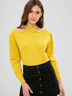Pullover Einfarbig Cold Shoulder Sweater - Niedliches Gummi Gelb
