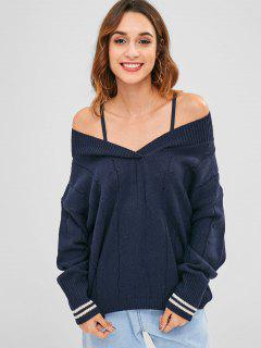 Tunic Drop Shoulder Loose Sweater - Midnight Blue