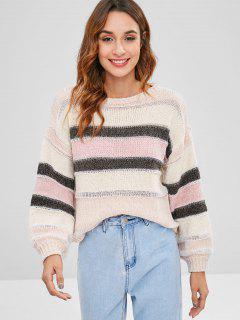 Rayas De Hilo Brillante Jersey Suéter - Multicolor