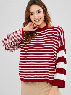 Jersey De Rayas Sueltas Con Cuello Redondo - Multicolor