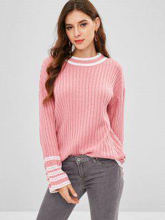 Loose Drop Schulter Streifen Pullover - Helles Rosa