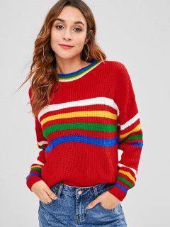 Suéter Con Paneles De Rayas En Los Hombros Caídos - Rojo Lava