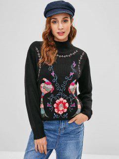 Embroidered Mock Neck Tunic Sweater - Black