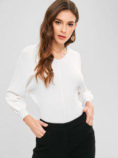 Batwing Sleeve Knit Slit Sweater - White