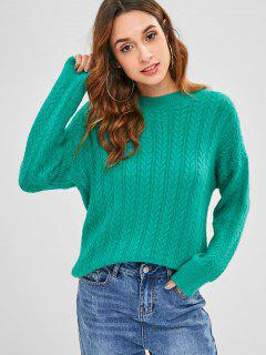 Drop Shoulder Pullover Cable Knit Sweater - Light Sea Green