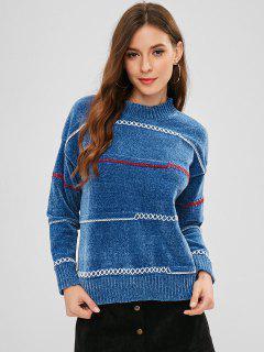 Pullover Criss Kreuz Pullover - Seiden Blau