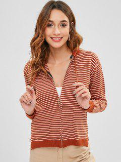Striped Zipper Hooded Cardigan - Light Brown